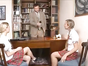 Two nasty schoolgirls fuck principal in threesome