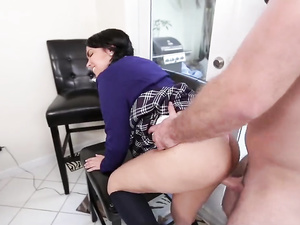 Petite brunette gets hardcore sex in CFNM scene