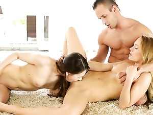 Horny Blue Angel and Stacy Snake in threesome