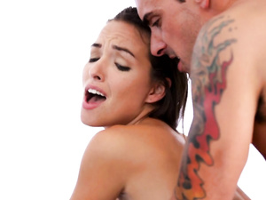 Tattooed man fucks the tan lined girl Sandy Sweet