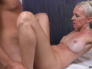 Short haired blonde deep suck and fuck
