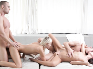 Dido Angel and Gina Devine bent over in foursome