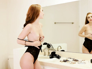 Natalie Lust strips and masturbates before mirror