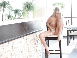 Busty blonde Krystal Boyd reaches orgasm alone