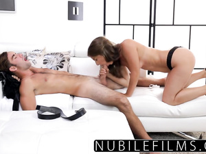Cock sinking in Presley Hart's mouth and cunt
