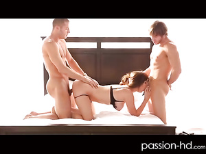 Sweet Holly Michaels brought to orgasm by 2 dicks