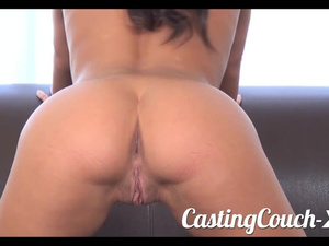 Adorable young brunette chick comes to porn casting
