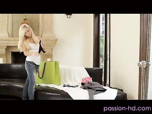 Impressive sexy blonde babe fucks hot in black underwear