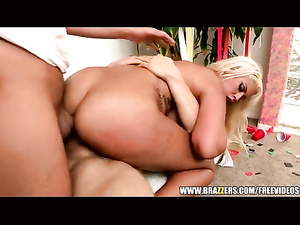 Big boobed and hot assed blonde enjoys double penetration