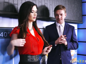 Brunette came to work dressed too sexy and got fucked up hard