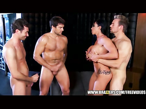 Three fuckers are being satisfied by one hot brunette chick