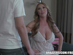 Exciting hot milf with huge boobs enjoys fucking with handsome guy