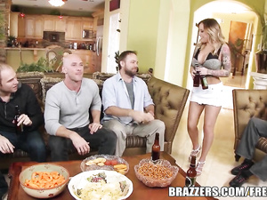 Bald guy covets to hot blonde and fucks her cunt and boobs