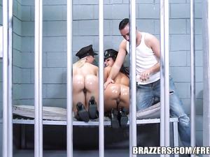 Jada Stevens and Annika Albrite fuck in the prison