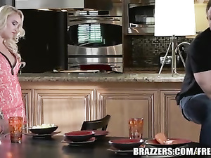 Appetizing hot blonde gets fucked hard in kitchen