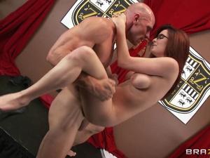 Steaming hot redhead chick in sexy dress sucks big dick and fucks hard