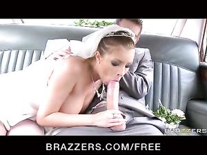 Limo driver fucks beautiful bride on the way to he husband