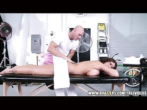 Bald masseur dude is excitingly lubing big bobed chick with oil