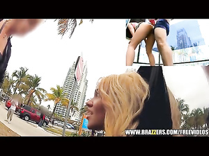 Blonde and her boyfriend are pleasuring hot fuck outdoors