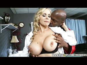 Juicy hot blonde babe enjoys cunnilingus and fucks black dude
