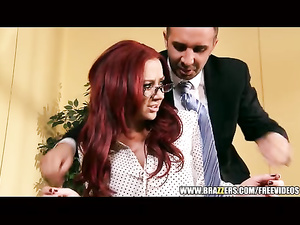 Redhead beauty babe gets seduced and fucked in the office