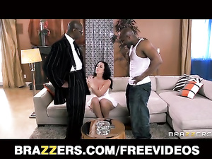 Hot brunette babe got seduced by two black fuckers