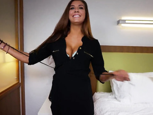 Long brown haired chick loved rough fuck at porn casting