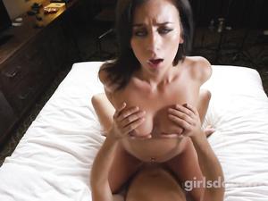 Hot brunette in black dress enjoys hardcore fuck at porn casting