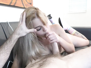 Cute young blonde chick with round boobs fucks at porn casting
