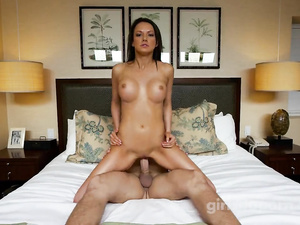 Amazingly sexy slender shaped brunette demonstrates her sex skills at casting
