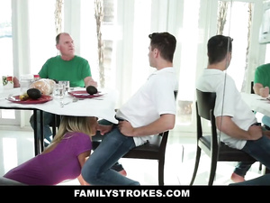 Blonde milf does blowjob to young stepson under the table while diner