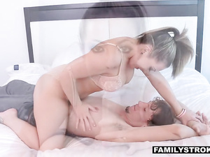 Young guy spies his juicy tight stepmom in shower before fucking her hard
