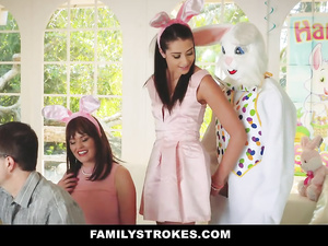 Naughty young brunette chick covets to an Easter bunny and fucks her uncle