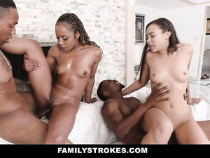 Two big black dick fuckers are pounding black and white stepsisters