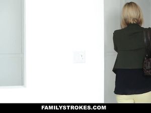 Lustful young blonde covets to her stepdad as her mother leaves