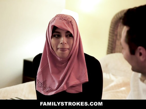 Big boobed Arab milf fucks her son's European friend