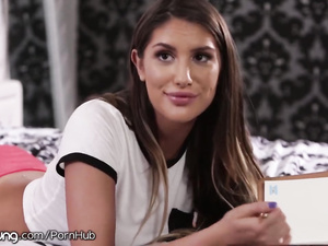 Lesbian young brunette chick August Ames enjoys licking off with stepsister