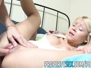 Teen blonde babe with amazingly big tight boobs gets fucked by a landlord