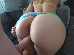 Hot bubble butt brunette slides panties and enjoys doggystyle fuck