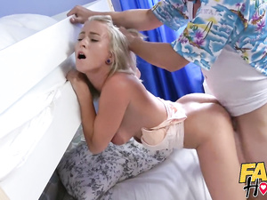 Stunning hot blonde gets fucked hard in deepthroat and shaved pussy