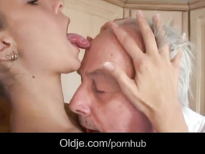 Naughty young brunette covets to grandpa and excitingly fucks him
