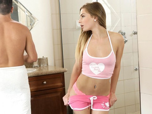 Naughty chick seduces her stepbrother and fucks him in the bathroom