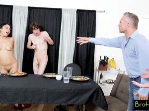 Mature dude caught son fucking hard his stepdaughter and joined them