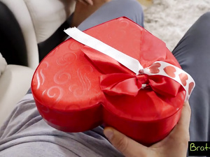 Dirty dude makes a naughty gift to his stepsister on Valentines day