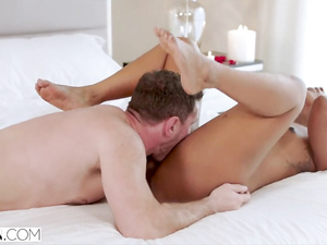 Hot young black student girl seduces and fucks white dude on the bed