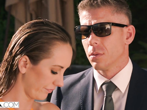 Stunning hot chick Brett Rossi does tight blowjob to security guy in fancy pool