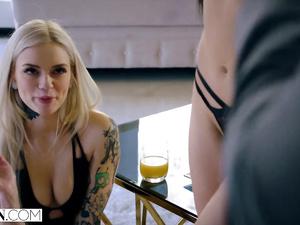 Stunning hot chicks Alex Grey and Marley Brix are enjoying hardcore threesome