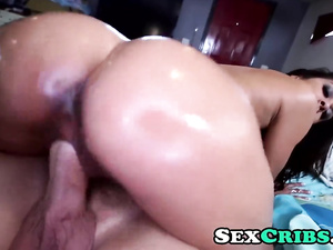 Steaming hot brunette Abby Lee deepthroats and rides huge cock