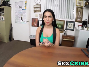 Beautiful brunette chick Ada Sanchez gives interview and gets fucked hard