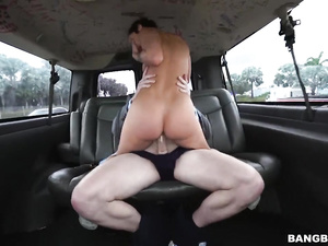 Steaming hot brunette Jada Stevens does deepthroat blowjob and fucks in the car